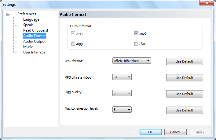 audio format setting dialog