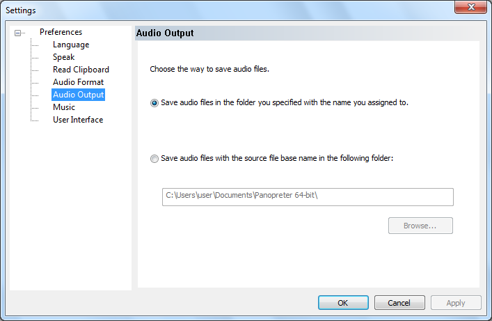 audio output folder setting dialog