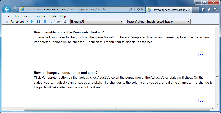 Panopreter text to speech toolbar for Internet Explorer
