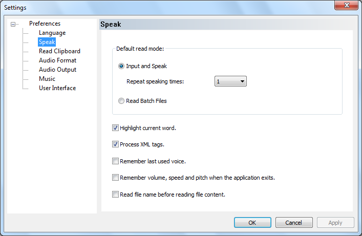 speak setting dialog