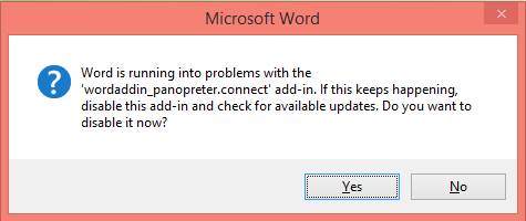 Word add-in message