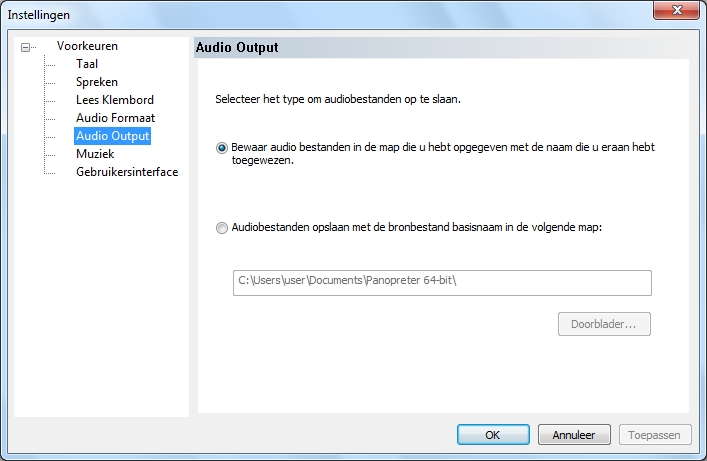 audio output map instelling dialoogvenster
